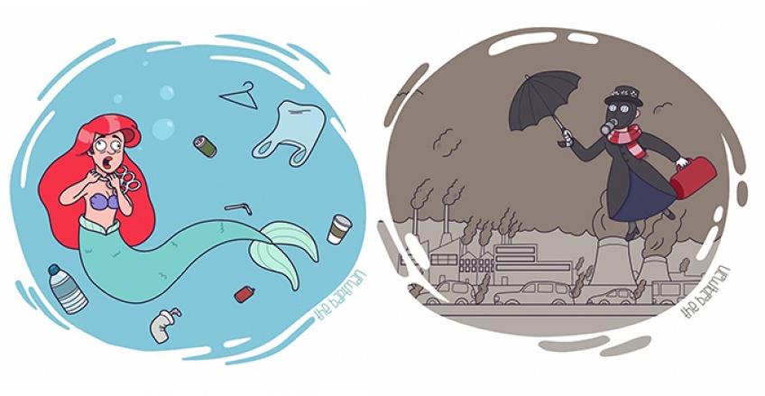 Personnages Disney catastrophe écologique