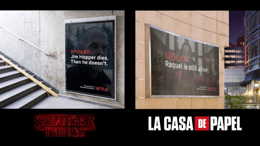 Des spoilers de séries Netflix ont été affichés dans la rue pour inciter les gens à rester chez eux !