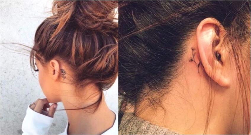 Les tatouages floraux à se faire derrière l'oreille !