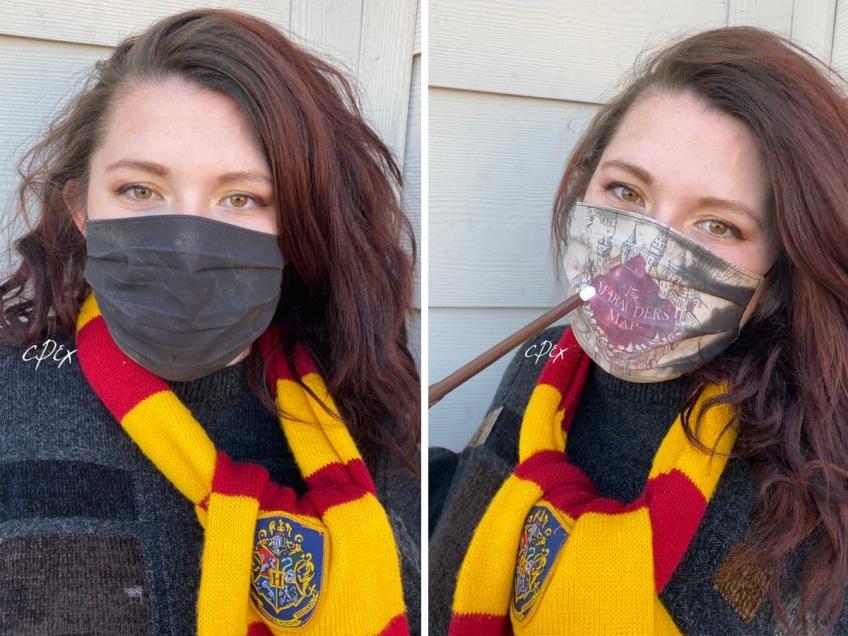 Une artiste fabrique un masque Harry Potter avec la carte du Maraudeur