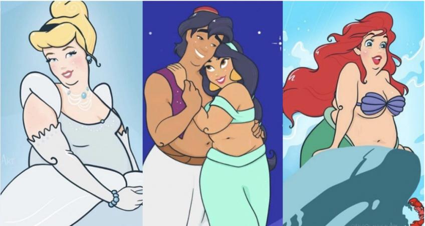 Elle redessine les princesses Disney avec des morphologies plus diverses !