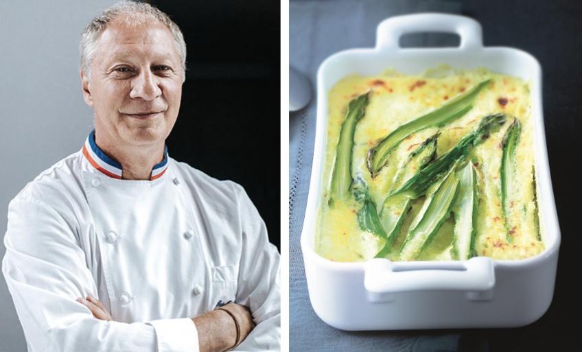 Le clafoutis aux asperges, sain mais gourmand, d'Éric Frechon... Merci chef !