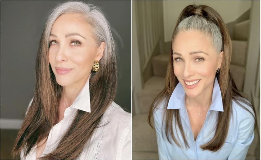 À 51 ans, elle assume pleinement ses cheveux gris !