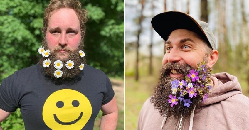 Ils décorent leur barbe avec des fleurs pour célébrer le printemps !