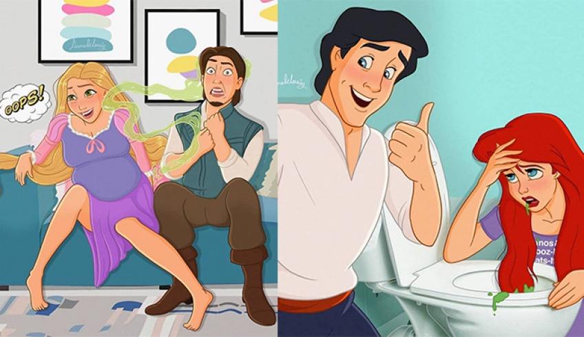 Cette artiste se sert des princesses Disney pour illustrer la réalité des grossesses