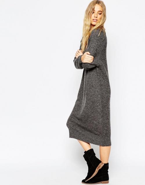robe mi longue grise asos