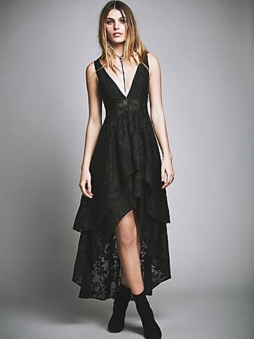 robe noire fendue dentelle free people