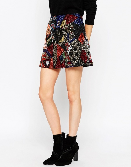 jupe patchwork sequins asos