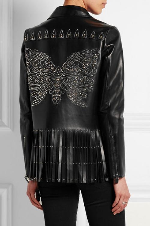 Valentino - Veste cuir noire à franges et clous