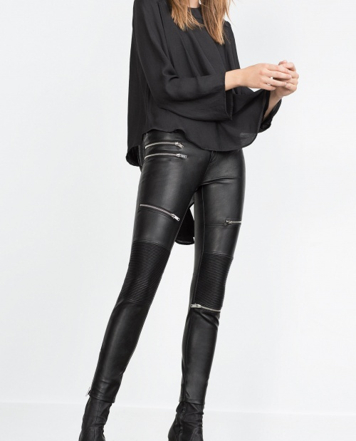 Zara - pantalon cuir slim à fermeture éclair