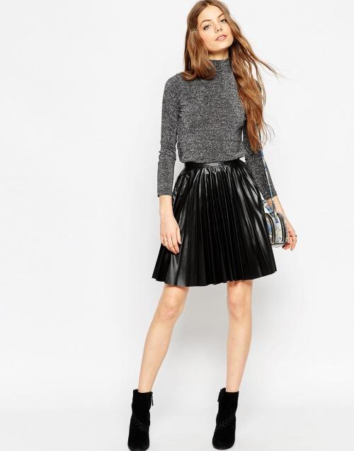 Asos - jupe plissée noir courte