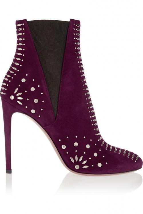 Alaïa - boots talons violettes cloutées