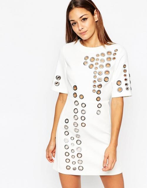 Asos - mini robe blanche à oeillets