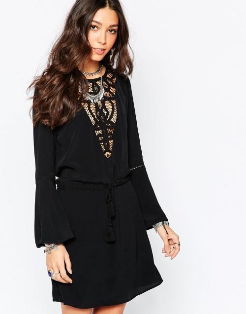 Wyldr - robe empiècement dentelle noire