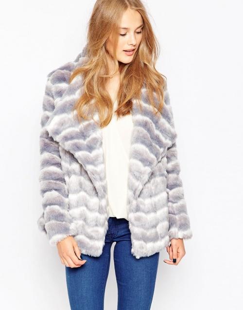 Influence - manteau fausse fourrure bleue claire