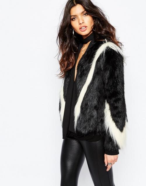 Unreal Fur - blouson fourrure noir et blanc