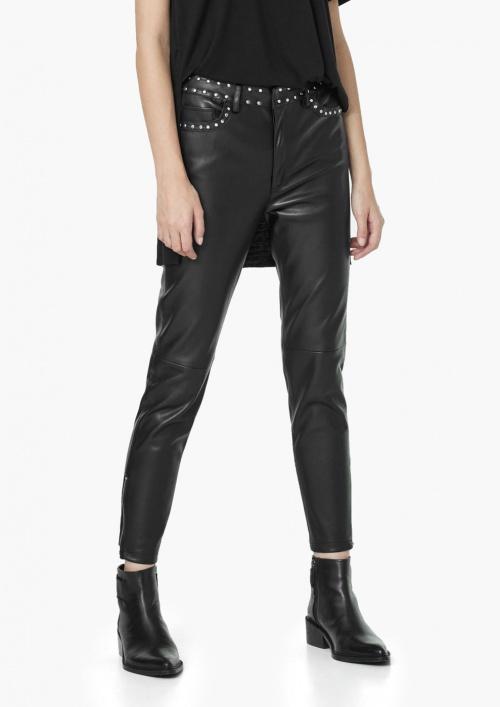 Mango - pantalon cuir slim noir