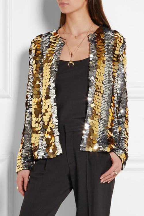 Lanvin veste sequin argent et or
