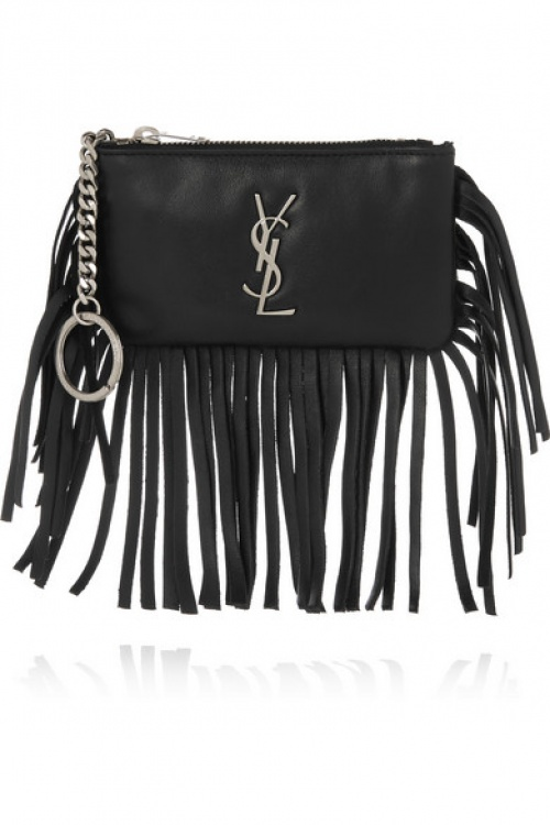 Saint Laurent - Pochette franges cuir noir