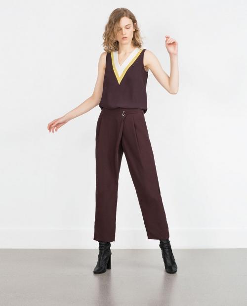 Zara pantalon coupe courte bordeaux