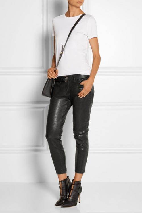 Frame Denim pantalon cuir coupe courte
