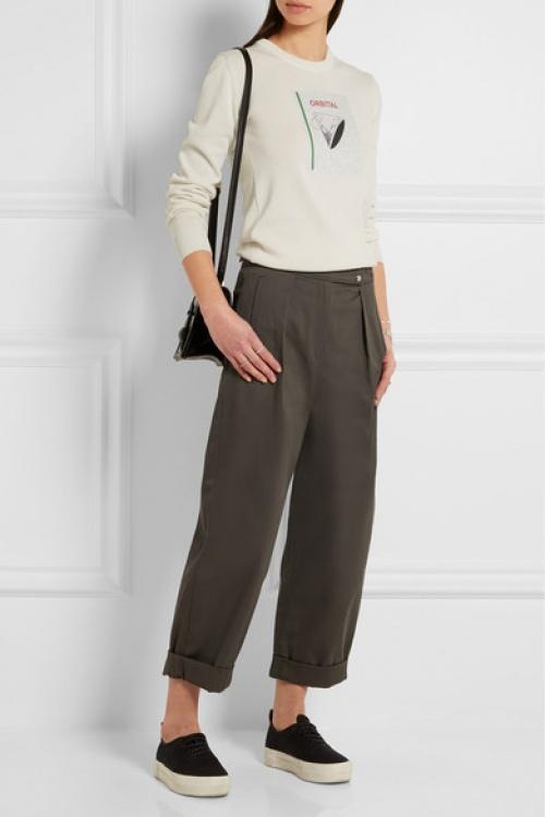 Kenzo  pantalon court large ceinture kaki