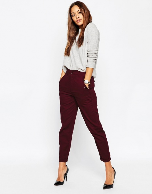 Asos pantalon court bordeaux