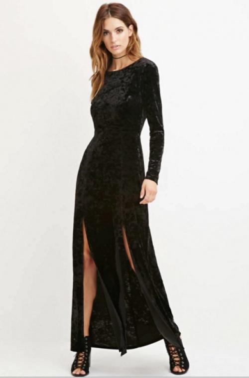 Forever 21 - robe longue velours fentes