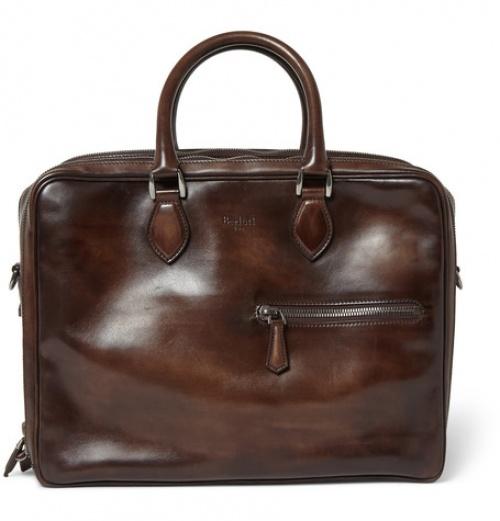 Berlutti - cartable cuir marron