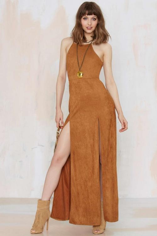 Double Vision - robe lacée daim