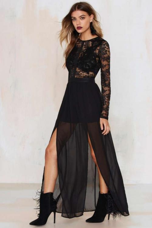 Applique Mystique - robe longue noire dentelle fentes