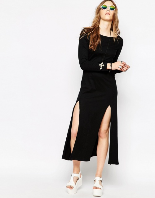 Your Eyes Lies - robe double fentes noire manches longues