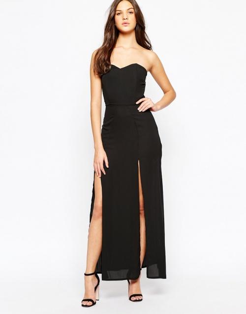 Love - robe bustier noire à double fentes