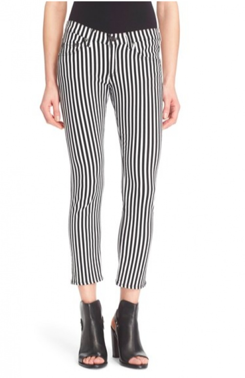 pantalon rayé noir et blanc