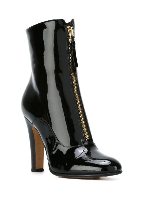 Valentino - Bottines à talons noires vinyle