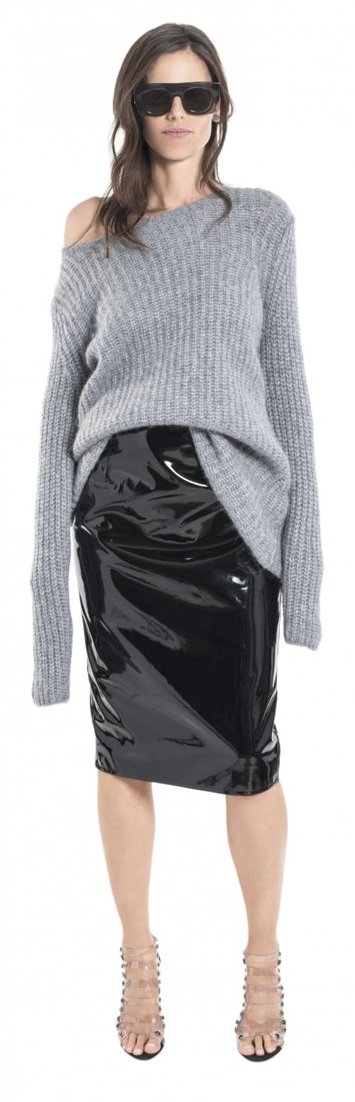 Wanda Nylon - Jupe fourreau noire vernis