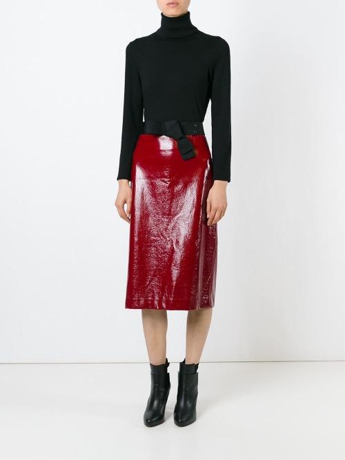 Erika Cavallini - Jupe midi cuir vernis rouge
