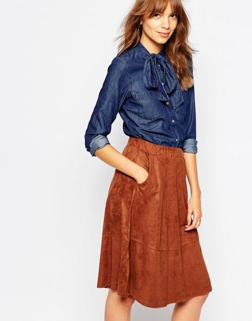 Vero Moda - Chemise col lavallière jean