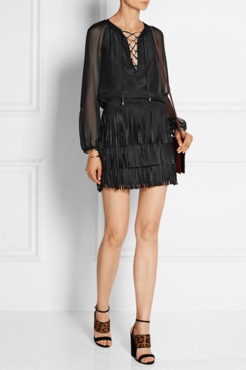 Alice + Olivia - Jupe franges courte noire cuir