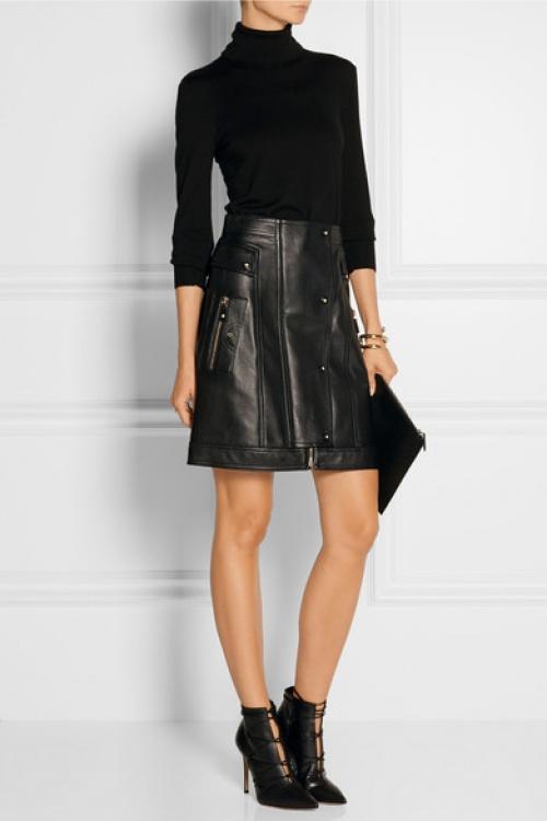 Versace - Jupe cuir noire façon perfecto