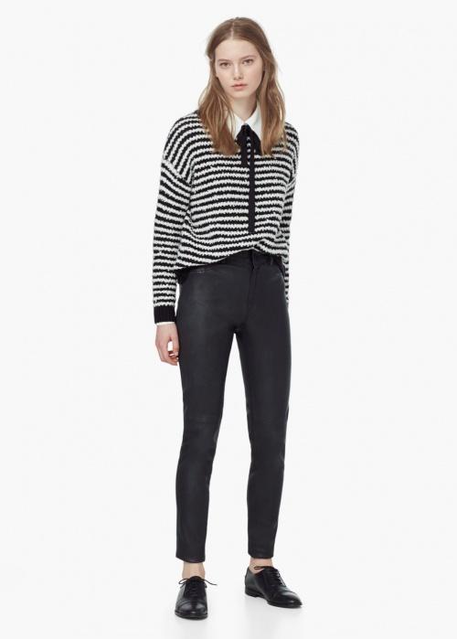 Mango - Pantalon cuir noire coupe courte
