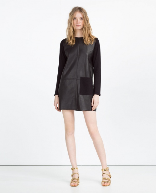 Zara - Robe bi matières simili cuir noire