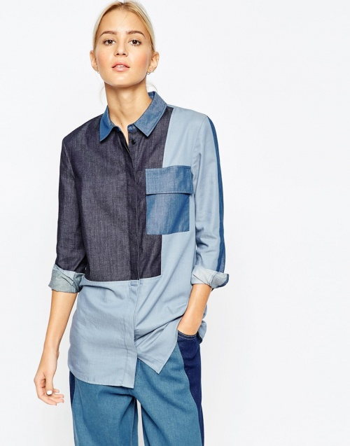 Asos - Chemise patchwork jean