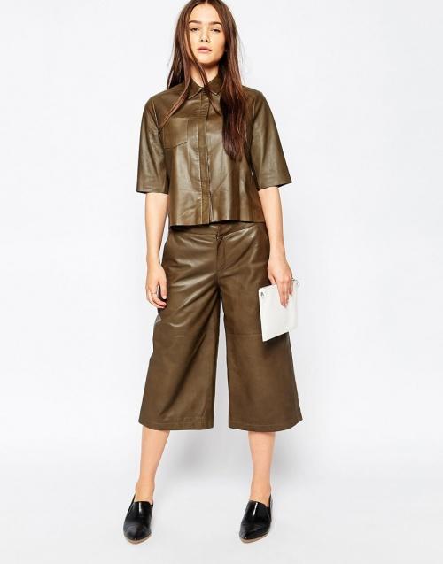 Muuba - jupe-culotte cuir marron
