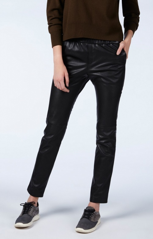 American Vintage - Pantalon  noir en cuir façon jogging