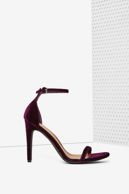 Nasty Gal - sandales talons hauts velours violet