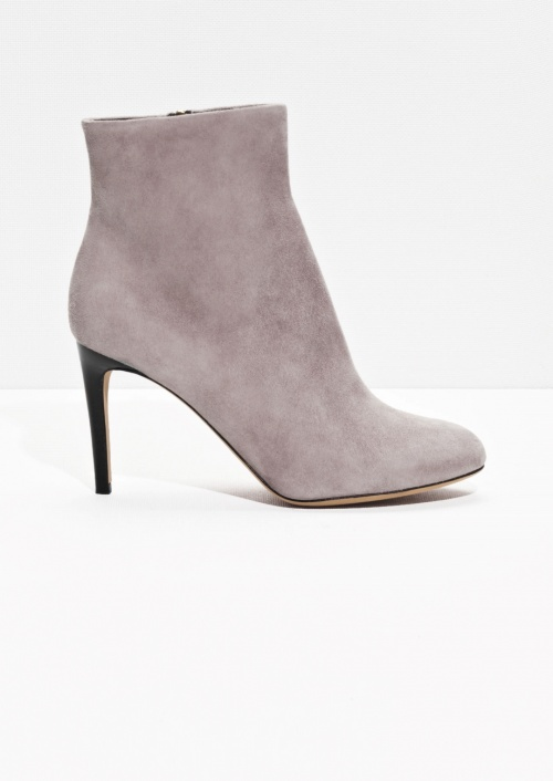 & Other Stories - bottines beige rosé talons velours suede