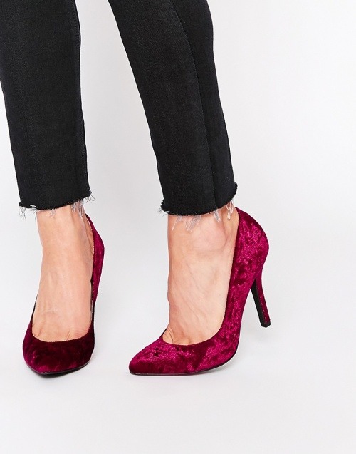 London Rebel - escarpins fushia velours