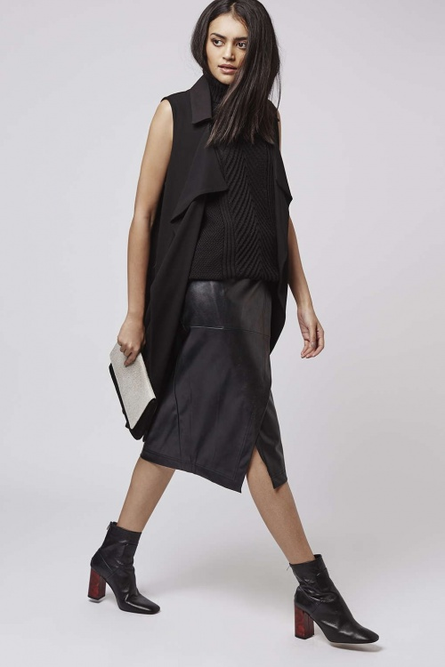Topshop - jupe simili cuir portefeuille
