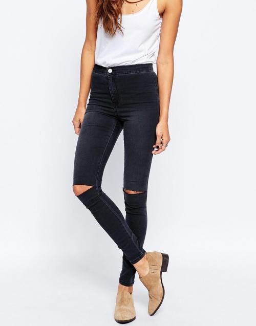 jeans asos troué genoux gris